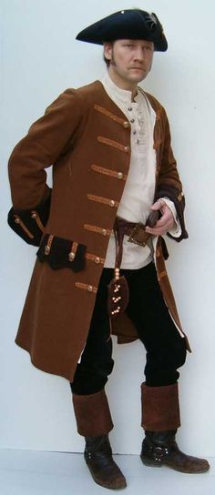 MODIFY  & REUSE MARCH HARE's Coat Pirate coat men's brown and black. Boots and trim. Costume.