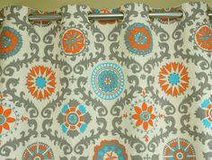 Pair Of Grommet Top Curtains In Mandarin Orange And Natural Rosa Print  Dossett   Teal/
