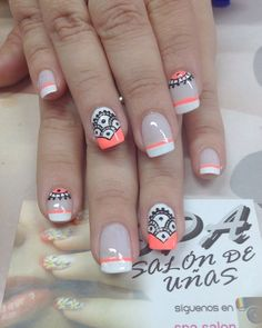 trendy summer & fall nail colors and designs to wear this season - page 30 31 Crazy Nails, Love Nails, How To Do Nails, Pretty Nails, French Nails, Mandala Nails, Gel Nagel Design, Tribal Nails, Nail Decorations