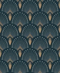 Most Popular Ideas office wall graphics patterns Blue Roses Wallpaper, Art Deco Wallpaper, Interior Wallpaper, Pattern Wallpaper, Wallpaper Backgrounds, Motif Art Deco, Art Deco Pattern, Art Deco Design, Papier Peint Art Nouveau