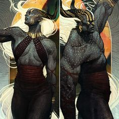 DA:I Qunari Race Gender Cards, Doe Doe on ArtStation at https://www.artstation.com/artwork/KgWqG