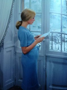 Catherine Deneuve in Les parapluies de Cherbourg directed by Jacques Demy, Photo by Leo Weisse Catherine Deneuve, Umbrellas Of Cherbourg, Color In Film, Jacques Demy, Theatre Costumes, French Films, Love Blue, Sound Of Music, Film Stills