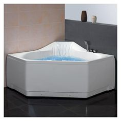 0b27af8d13a ARIEL Platinum 5ft AM168JDTSZ 2-person Corner White Acrylic Whirlpool  Bathtub