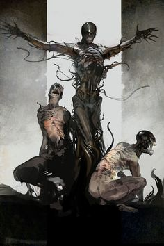 We are but death, and the phantoms of death, evil lurking like cloud-shadows and wills of straw that eddy in the wind. Monster Concept Art, Fantasy Monster, Monster Art, Monsters Rpg, Horror Monsters, Dark Creatures, Fantasy Creatures, Arte Horror, Horror Art