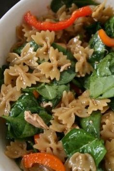 Asian bowtie pasta. Heat 2 orange or yellow peppers, 1 cup scallions, 2-3 cups rotisserie chicken (cut into chunks), 3 cups baby spinach, & 3 tbsp sesame seeds…mix into cooked pasta
