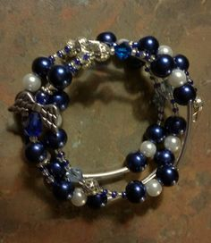 Blue Angels Glass Beaded Bracelet by JewelryDesignsbyKD on Etsy
