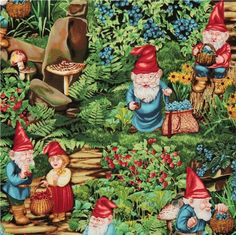 Michael Miller fabric Very Berry Gnomes dwarfs  cute colourful USA designer fabric with many gnomes from the USA