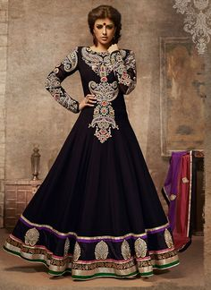 You can get floor length Anarkali suits in black from shops of different designers, malls, stores and also from online shopping portals. Description from beautytipsmart.com. I searched for this on bing.com/images