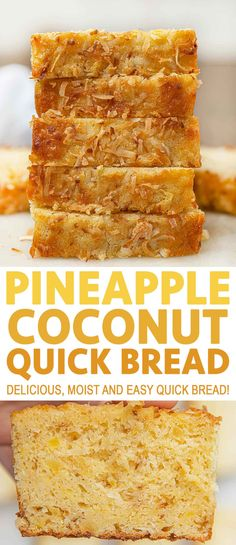 Pineapple Coconut Bread is an easy quick bread that's rich and moist with the flavors of the tropics that's perfect for dessert or breakfast! Desserts Pineapple Coconut Bread (Tastes like you're in Maui!) - Dinner, then Dessert Pineapple Coconut Bread, Coconut Quick Bread, Pineapple Desserts, Pineapple Recipes, Quick Bread Recipes, Easy Bread, Banana Bread Recipes, Sweet Recipes, Coconut Bread Recipe