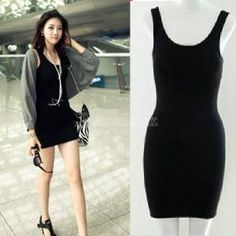 Women's  Bodycon Sleeveless Long Tank T-Shirt Tops Mini Dress