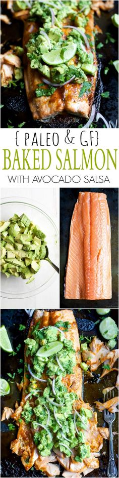 Paleo Baked Salmon that's rubbed down with a sweet & spicy spice blend then topped with a fresh zesty Avocado Salsa! This easy healthy recipe is done in less than 30 minutes! | http://joyfulhealthyeats.com