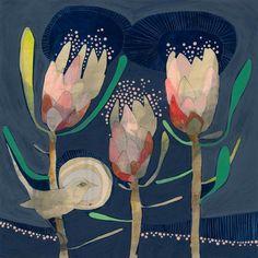 blue wren and protea print, limited edition print signed by artist dana kinter Bird Outline, Protea Art, Found Art, Aboriginal Art, Limited Edition Prints, Botanical Art, Art Techniques, Painting Inspiration, Flower Art