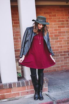 Petite Fashion Monster- Green Hat and burgundy dress #petitefashionmonster #petiteblogger #hat