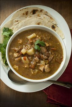 Green Chile Stew with Pork and Potatoes // Foie Gras Hot Dog – New Mexico-style green chile stew.