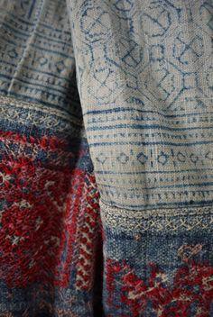 Handwoven tribal hemp, indigo blue - hilltribe Hmong indigo batik via etsy.com