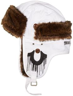 TRUE RELIGION White Twill Faux Fur Bomber TRAPPER Hat Mens Size L-XL (eBay 01d9264fdb28