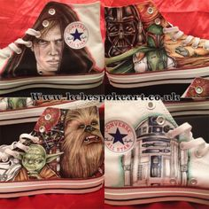 Star wars hand drawn unique custom converse shoes by KcBespokeArt