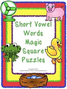 Short Vowel Pictures and Words Magic Square Puzzles {$}