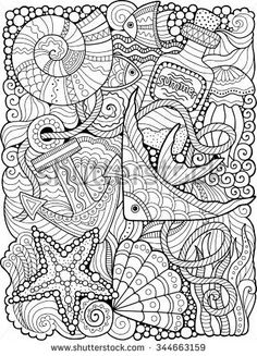 summers sea coloring page - Adult Color Pages