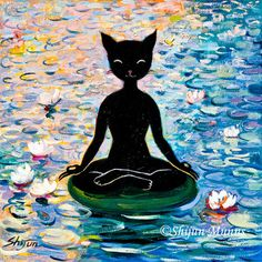 """Yoga Cat"" oil on canvas (c) Shijun Munns Yoga Cat, Wood Paneling, Oil On Canvas, Disney Characters, Fictional Characters, Original Paintings, Art Gallery, Disney Princess, Cats"