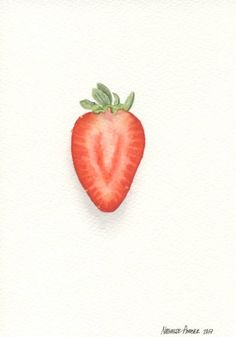 Strawberry 3  ORIGINAL Painting Still Life Wall Art 5x7