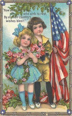 Vintage Americana, children with flag.