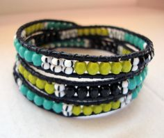 Triple Wrap Bracelet Green Turquoise and black by Iceleen on Etsy