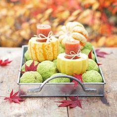 Gartentisch-Herbstdekoration mit kürbissen-kerzenständer