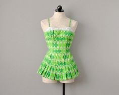 Swimwear // Green Abstract Print Cotton One-Piece Bathing Suit // Small Vintage Baby Clothes, Vintage Outfits, Vintage Fashion, Vintage Clothing, Vintage Style, Vintage Swimsuits, Batik Prints, Abstract Print, Dance Wear