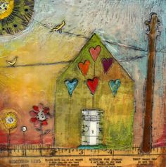 Let Love Rule by Cathy Nichols #mixedmedia #house #encaustic