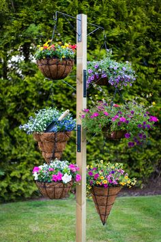 Free standing hanging basket stand.