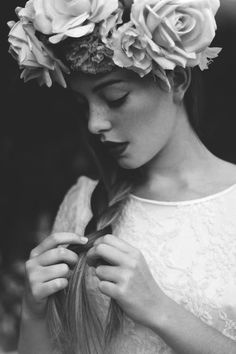 Braiding with flower crown