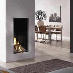 DRU Excellence 50XT: A high end, balanced flue gas fire experience with unique dual burner.  #kernowfires #wadebridge #redruth #cornwall #dru #gas #fire #balanced #flue #modern #contemporary #dual #burner
