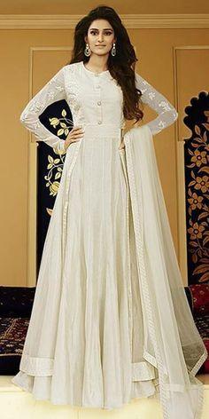 Ravishing White Net Anarkali Suit With Dupatta.