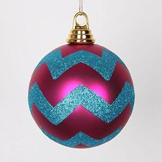Felices Pascuas Collection Cerise Pink Matte with Turquoise Blue Glitter Chevron Christmas Ball Ornaments 4.75 inch (120mm)