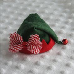 Mini Elf Hat Christmas Hair Clip in Red and Green with Red and White... ($11) ❤ liked on Polyvore