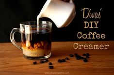One easy recipe for homemade coffee creamer that makes 10 different flavors that are inexpensive and delicious. Pumpkin spice, peppermint, Irish cream and more.