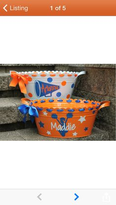 Items similar to Personalized Scalloped CHEERLEADER Tub/Bucket - Assorted Designs and Colors Available on Etsy