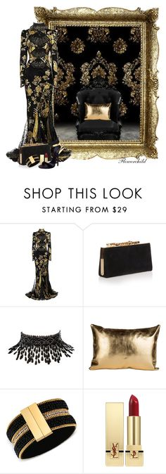 """Black & Gold Mimicry"" by flowerchild805 ❤ liked on Polyvore featuring Tokyo Rose, Roberto Cavalli, Jimmy Choo, Amrita Singh, GUESS, Yves Saint Laurent and Giuseppe Zanotti"