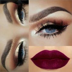 43 Christmas Makeup Ideas to Copy This Season - Eye Make Up , 43 Christmas Makeup Ideas to Copy This Season Sparkly Gold Eyes + Matte Purple Lips makeup amazing. Red Lipstick Makeup, Gold Eye Makeup, Hair Makeup, Matte Makeup, Sparkly Makeup, Makeup Cosmetics, Matte Lips, Dramatic Eye Makeup For Blue Eyes, Red Hair Blue Eyes Makeup