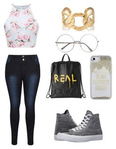 """""""Going to school"""" by poohklb ❤ liked on Polyvore featuring Converse, Gucci, Kate Spade and Goossens"""
