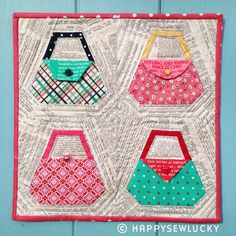 PURSE paper-piecing quilting pattern by happysewluckyshop on Etsy