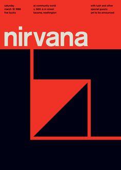 """Luego de las """"suecadas"""", llegan las """"suizadas"""", afiches de conciertos de punk-rock de los ´70, ´80 y ´90 rediseñados siguiendo el estilo modernista suizo de los años 50 y 60."""