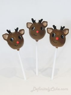Baby Reindeer Cake Pops     Found on definitelycake.com  #Christmas, #Brown, #Holiday