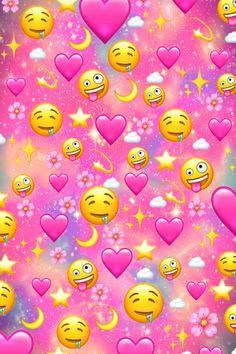 Love Hearts And Emojis Galaxy Wallpaper Iphone Wallpaper Quotes Funny, Galaxy Wallpaper Iphone, Cartoon Wallpaper Iphone, Iphone Background Wallpaper, Cute Cartoon Wallpapers, Pretty Wallpapers, Aesthetic Iphone Wallpaper, Disney Wallpaper, Cute Girl Wallpaper