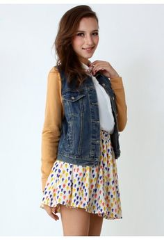 Denim Pockets Parka with Contrast Sleeves