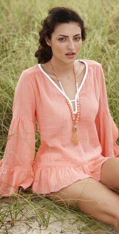 Debbie Katz 2013 Peach Blouse - Cover-ups  #beach #dress #red #debbie #fashion #coverup #folklore #blouse southbeachswimsuits.com