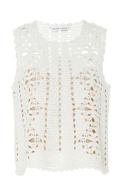 White Lemonade Crochet Tank by SPENCER VLADIMIR for Preorder on Moda Operandi