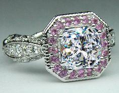 Radiant Diamond Vintage Pave engagement ring Pink halo