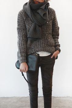 textural sweater, big scarf, white shirt